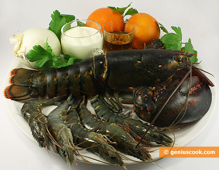 Ingredients for Lobster with Tiger Shrimps in Cream and Orange Sauce