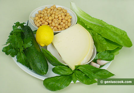 Ingredients for Salad with Chickpeas, Cucumbers and Cheese