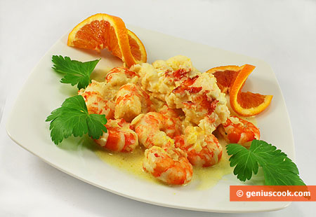 Lobster with Tiger Shrimps in Cream and Orange Sauce