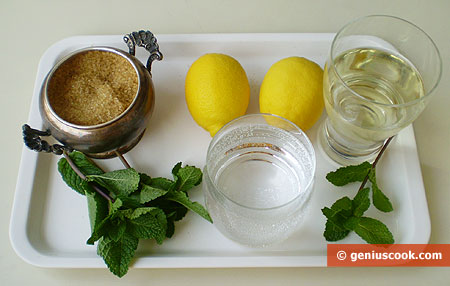 Ingredients for Martini with Mint and Lemon