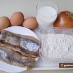 Ingredients for Pancakes with Herring and Onion