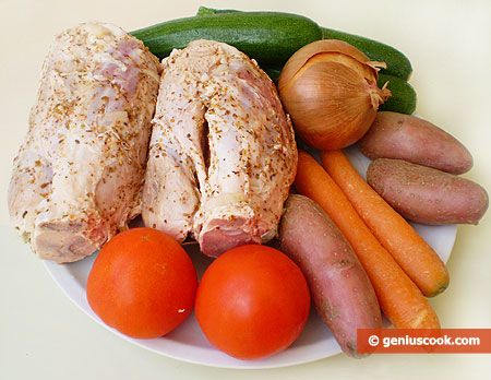 Ingredients for Pork Shank with Vegetables