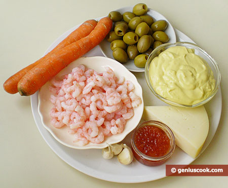 Ingredients for Salad with Shrimps, Caviar and Cheese