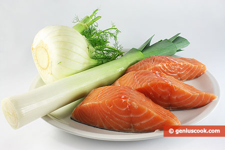 Ingredients for Salmon with Fennel and Leek