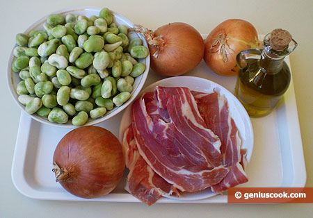 Ingredients for Simmered Beans with Onions and Ham