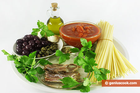 Ingredients for Spaghetti alla Puttanesca