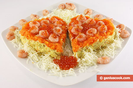 "The ""Two Valentine Lovers"" Salad with Shrimps, Caviar and Cheese"