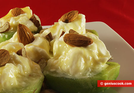 Dessert with Kiwi Fruit, Philadelphia Cheese and Almond Nuts