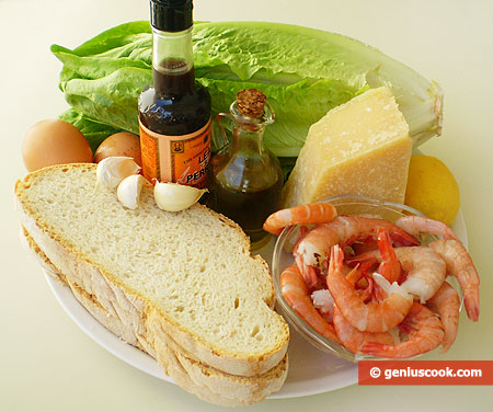 Ingredients for Caesar Salad with Shrimps