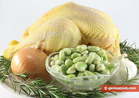 Ingredients for Cock Stuffed with Beans