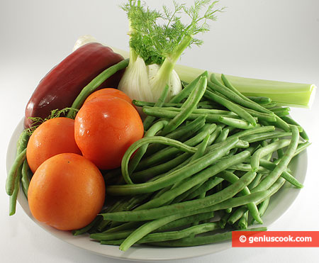 Ingredients for Runner Beans with Vegetables