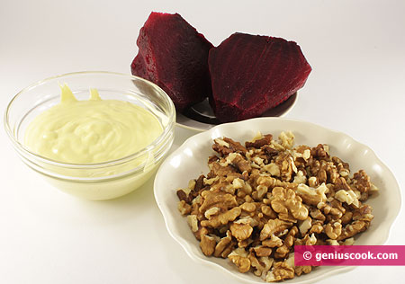 Ingredients for Salad with Red Beet and Nuts