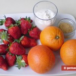 Ingredients for Salad with Strawberry and Oranges