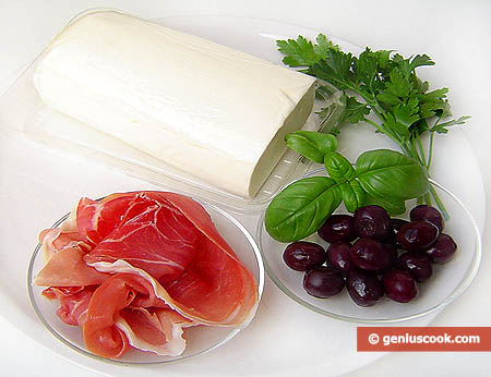 Ingredients for Prosciutto Ham Stuffed Mozzarella Roll