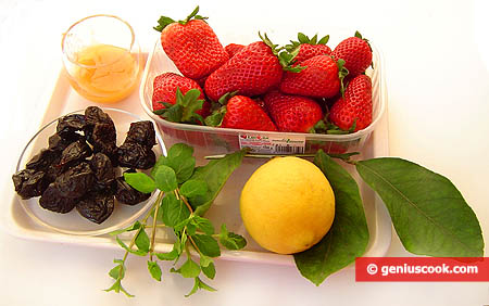 Ingredients for Strawberry and Prune Dessert