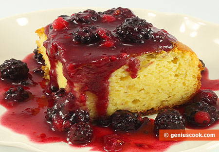 Cottage Cheese Pudding with Berry Dressing