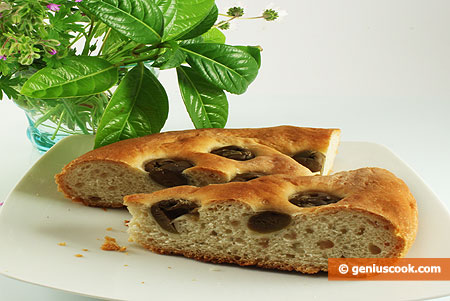 Cut Focaccia with Olives