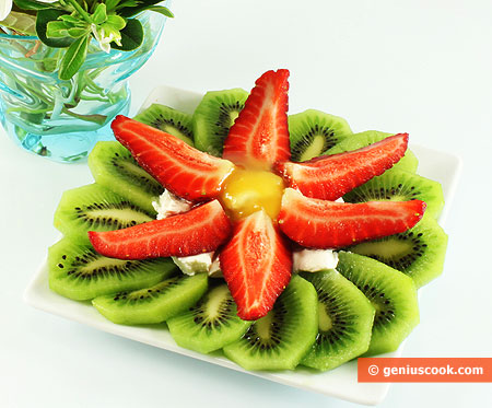 Dessert Made of Kiwi Fruit and Strawberry