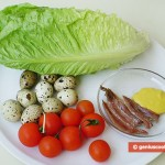 Ingredients for Appetizer From Quail Eggs and Anchovy