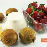 Ingredients for Dessert Made of Kiwi Fruit and Strawberry