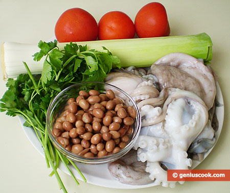 Ingredients for Moscardini with Beans and Leek