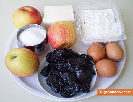 Ingredients for Short Pastry Pie with Apples and Prunes