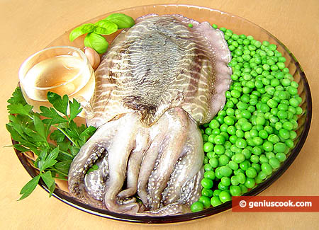 Ingredients for Simmered Sepia with Green Peas