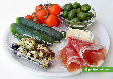 Ingredients for Stuffed Olives Appetizer