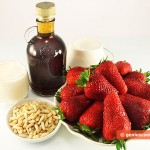 Ingredients for Dessert with Strawberry and Maple Syrup