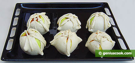 Apples in Puff Pastry on a Baking Sheet