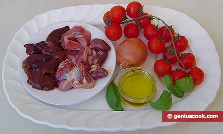 Ingredients for Chicken Insides in Tomato Sauce