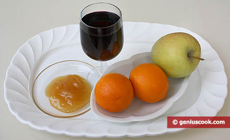 Ingredients for Fruit and Wine Dessert