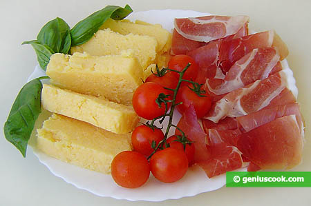 Ingredients for Polenta with Prosciutto Ham