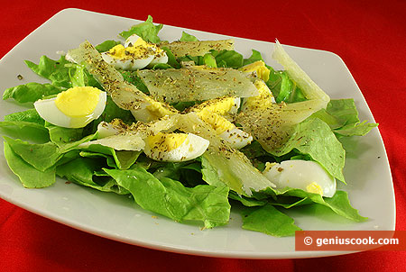 Romaine Salad with Quail Eggs