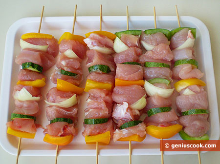 chicken fillet with vegetables on skewers
