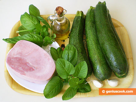 Ingredient for salad with zucchini, ham, mint