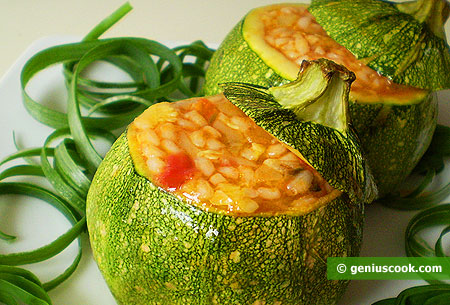 Vegetable Marrows Stuffed with Rice and Shellfish