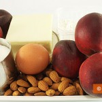 Ingredients for a peach pie