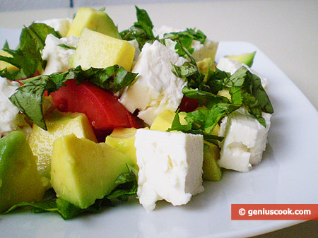Salad with Avocado and Feta Cheese