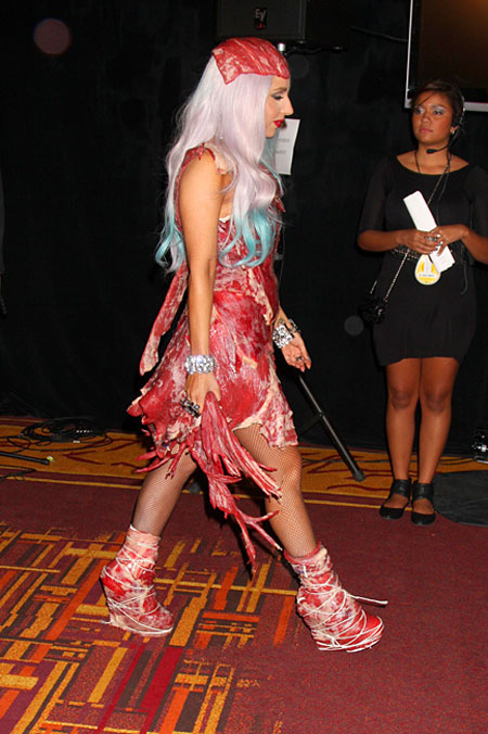 Lady Gaga Dressed in Raw Meat