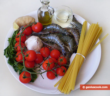 Ingredients for Linguine with Shrimps
