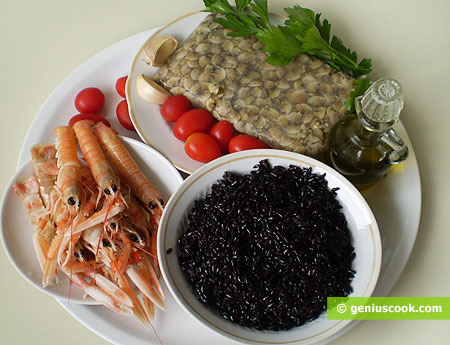 Ingredients for Scampi and Clam with Black Rice