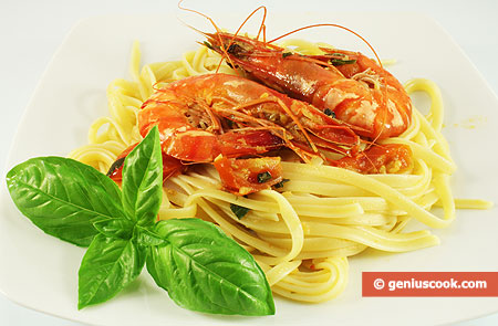 Linguine with Ginger Sauce and Tiger Shrimps