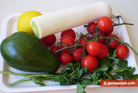 Ingredients for Avocado and Leek Salad