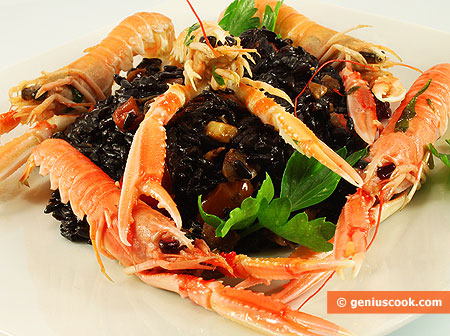 Langoustines and Clam with Black Rice
