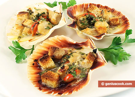 Scallops Baked in Shells