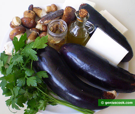Ingredients for Rolls with Eggplant and Mushrooms
