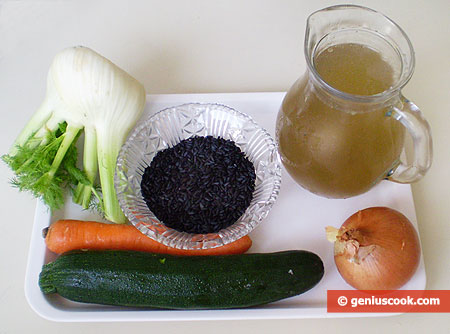 Ingredients for Soup with Black Rice, Zucchini and Fennel