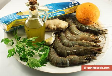 Ingredients for Trenette with Shrimps in Orange Sauce