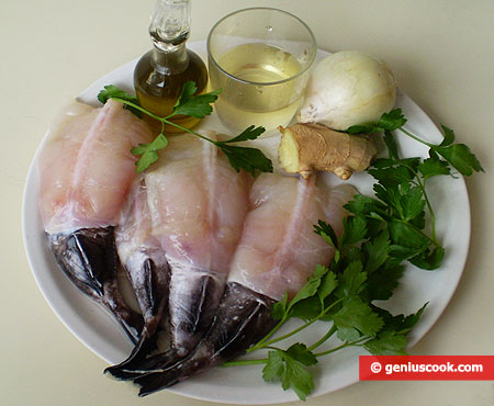 Ingredients for Angler in Onion and Ginger Sauce